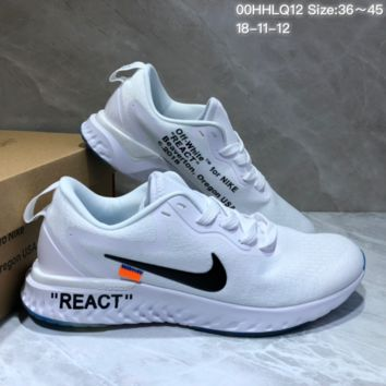 KUYOU N795 Off White X Nike Epic React 2.0 Flyknit Running Shoes White Black