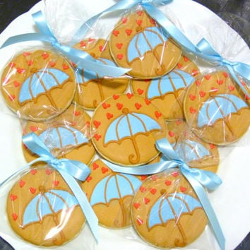 Custom Decorated Gourmet Sugar Cookie Umbrella Baby Shower Favors for Boy Baby Shower, Girl Baby Shower, Wedding Showers