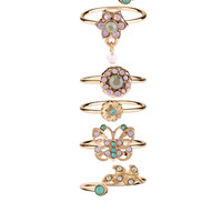 Freya Butterfly And Flower Stacking Ring Set | Clear | Accessorize
