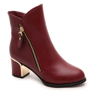 2017 New Women Boots Women shoes Ankle Boots High Heel Boots Shoes Zapatos Mujer botas mujer plus size Black Red