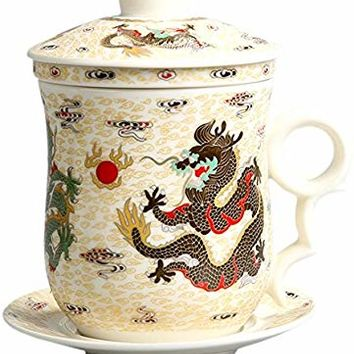 BandTie Convenient Travel Office Loose Leaf Tea Brewing System-Chinese Jingdezhen Blue and White Porcelain Tea Cup Infuser 4-Piece Set with Tea Cup Lid and Saucer ,White Dragon Pattern
