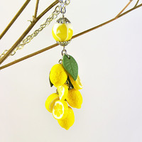 Lemon Pendant Polymer clay jewelry Gift for girlfriend Handmade jewelry Yellow citrus jewellery Fruit pendant