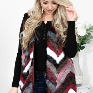 Faux-Fur Wine Vest