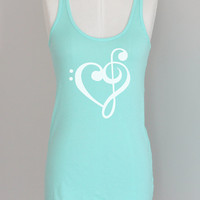 Music Treble Bass Clef Heart Pima Modal Eco Tank Top in Aqua