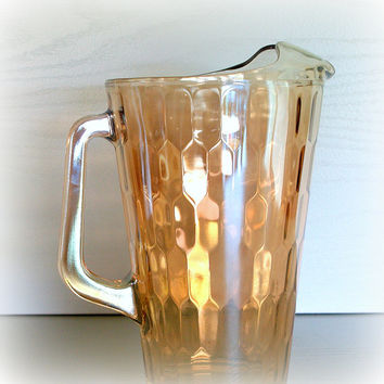 MODERN RAINBOW HONEYCOMB Glass Water Pitcher Beautiful Vintage 1940s Iridescent Antique Depression Carnival Glassware in Honey Amber Yellow