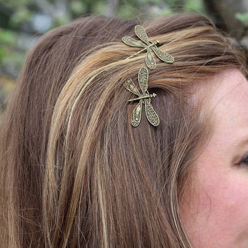 Dragonfly Bobby Pins, Bronze Dragonfly Bobby Pin Set, Wedding Hair Pin, Bronze Insect, Dragonfly Hair Clip, Dragonfly Hair Pins, Dragonflies