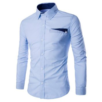 Podom Men's Stylish Long-Sleeve Button Down Slim Fit Shirt