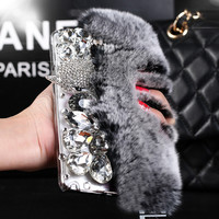For Samsung Galaxy Note 7 Case Rabbit Hair Fox Head Bling Diamond TPU Case For Samsung Galaxy Note 5 Note 4 Note 3 Phone Cases
