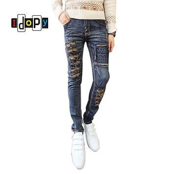 Fashion Korean Style Brand Designer Mens Skinny Jeans Elastic Ripped Denim Jeans Men Vintage Washed Distressed Jeans For Men