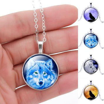 Vintage Wolf Picture Glass Cabochon  Pendant Necklace