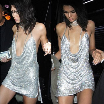 Kendall Jenner 21st Birthday Party Dress 2016 Women Sexy Nighclub  Sliver Sequin dresses Spaghetti Strap sequins mini vestidos