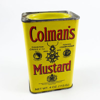 Vintage Colman's Mustard Tin Advertising Yellow Tin Spice Tin 1950s Collectible Tin Yellow Red Kitschy Kitschy Kitchen Decor