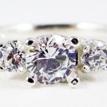 White CZ Three Stone Engagement Ring Sterling Silver, Cubic Zirconia Ring, Sterling Silver Cz Ring, 925 Cz Ring,
