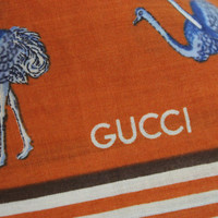 Vintage GUCCI Large Scarf, Shawl Pure Cotton Autumn Colors Ostrich Pattern