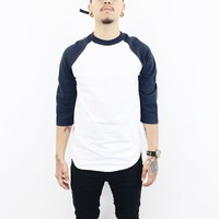 Henry Baseball T Shirt ( White/ Navy Blue)