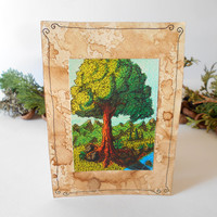 Handmade postcard with oak tree landscape art- coffee colored card stock 105 lbs.- postcard with art print- eco-friendly gift card