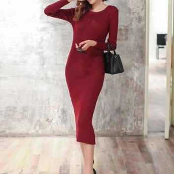 Solid Color Back Split Women's Sweater Dress