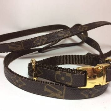 Louis Vuitton Dog Collar and Leash, LV Initials or Floral, Upcycled, Recycled, Repurposed, Authentic LV bags used ONLY