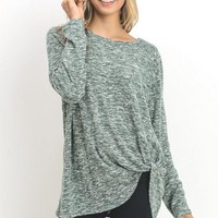 Green Two Tone Side Knot Detail Top