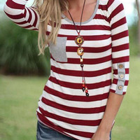 Casual Striped Three Fourth Sleeve Single Pocket Sweat Shirt