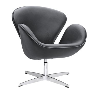 Swan Swivel Chair Leather, Black