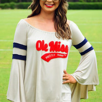 "White ""Ole Miss"" Patchwork Bell Sleeve Top"