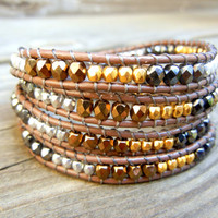 Beaded Leather Wrap Bracelet 4 or 5 Wrap with Metallic Bronze Gold Hematite and Silver Czech Glass Beads on Brown Leather
