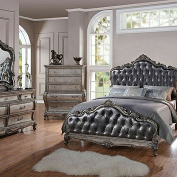5 pc chantelle collection antique silver finish tufted padded headboard and footboard queen bedroom set