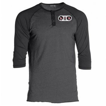 Ohio - OHIOPRD14 Unisex 3/4 Sleeve Button Raglan