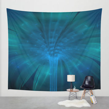 Wall Tapestry - 'Fountain of Blue Light' - Home Decor - Wall Decor, Modern, Home Warming Gift, Symmetry, Bohemian, Boho