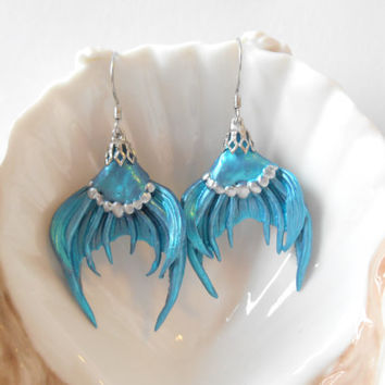 Mermaid Tail dangle earrings, mermaid earrings, mermaid tails, mermaid tail jewelry, mermaid jewelry, mermaid earrings, mermaid accessories