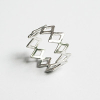 Infinity Diamond Ring, Sterling Silver, Diamond Shapes Ring