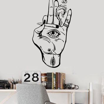 Vinyl Wall Decal Hamsa Hand Eye Hemp Cannabis Hippie Stickers Unique Gift (1475ig)