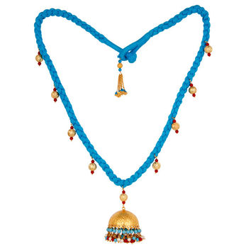 Indian Handcrafted Turquoise Coral and White Pearl 18K Gold Plated Necklace
