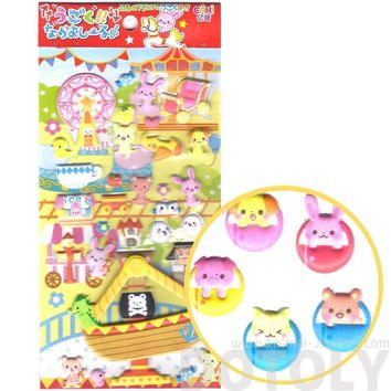 Adorable Bunny Rabbit Panda Bear Shaped Animal Theme Park Moveable Puffy Stickers | 2 Sheets