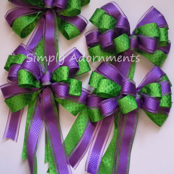 Purple Green Wedding Pew Bow Green Purple Church Aisle Bow Shower purple lime Birthday Party Decoration Gift Bow