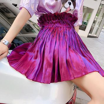 2018 Women Summer Sweet High Waist Solid Pleated Skirt Cool Mini Skirt Sexy Club Skirts Fashion Harajuku Faldas Mujer Jupe Femme