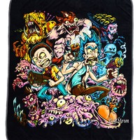 Licensed cool Rick And Morty Surreal Adventure Plush Throw Blanket by Artist Brian Allen NWT