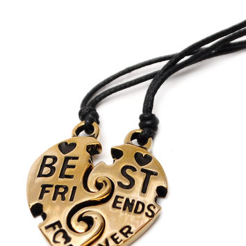 2 Piece Best Friend Heart Yin Yang Handmade Brass Necklace Pendant Jewelry