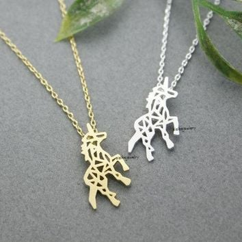 Daisies Gold Silver Beautiful Unicorn Horse Necklace For Women Best friend Gift Unicorn Horse Necklace