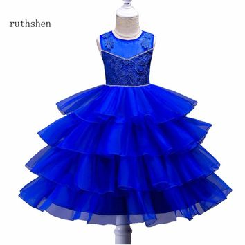 ruthshen New Arrivals Flower Girl Dresses Real Photo Sleeveless Ball Gowns For Girls Weddings Cheap Appliques Kids Prom Dresses