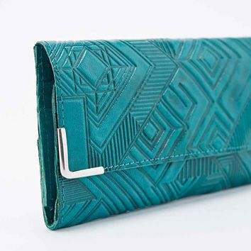 Ecote Geometric Embossed Leather Wallet in Teal - Urban Outfitters