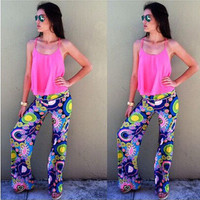 Fashion 2016 Trending Fashion Summer Women Floral Printed Floral Printed Trousers Pants _ 7648