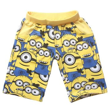 Baby Boys Shorts Despicable me Summer Style Tigor 95%Cotton Cartoon Minions Shorts Children Yellow Casual Loose Short for Kids