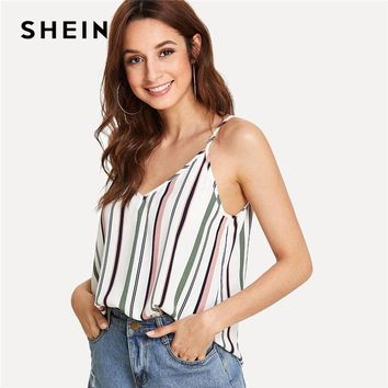 SHEIN Double V Neck Striped Cami Top Women Spaghetti Strap Backless Clothing Vacation  Summer Beach Boho Vest