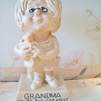 Vintage Russ Berries Sillisculpt Figurine Grandma You're The Greatest Retro Kitsch Grandparent's Day