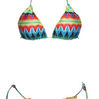Abstract Print Halter Triangle Bikini