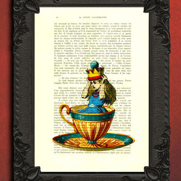 alice in wonderland decorations, alice tea cup art print, alice dictionary art print
