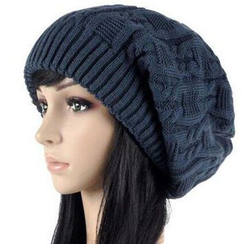VONG2W Women Warm Casual Beanies Stripes Knitted Female Hat Autumn Winter Cap For Girl