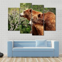 Brown Bear Looking For Food In Madrid Zoo Canvas